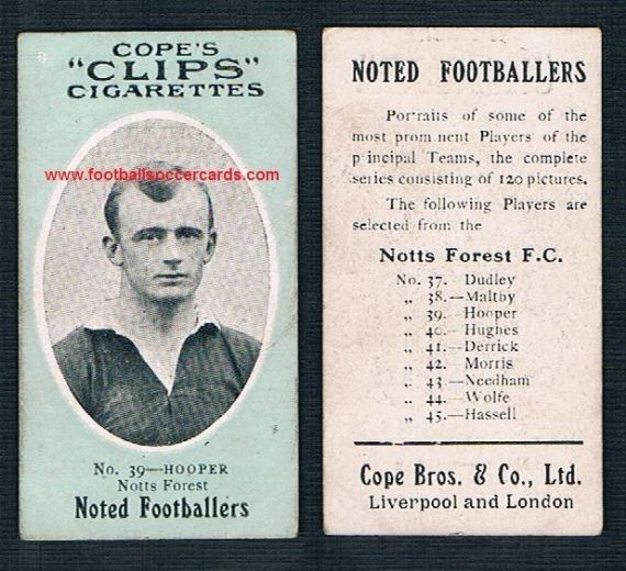 1908 Cope Brothers Noted Footballers 120 series Hoooper 120 Nottingham Forest